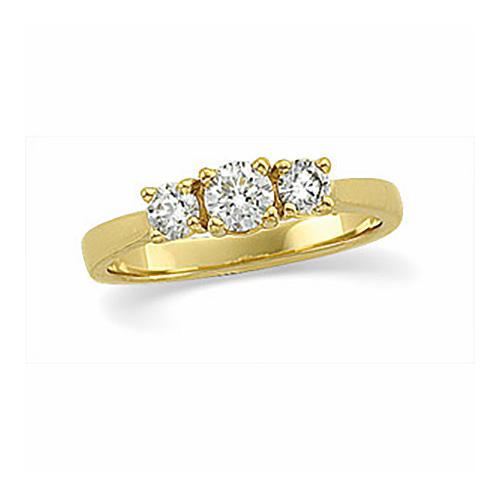 14kt Yellow Gold 5/8 ct tw Diamond Three Stone Ring