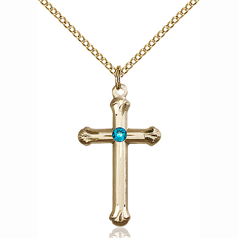 Gold Filled 1in Budded Cross Pendant with 3mm Zircon Bead & 18in Chain