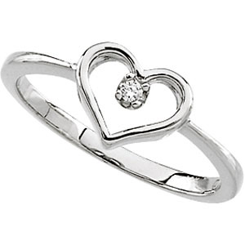 14kt White Gold .02 ct Diamond Heart Promise Ring