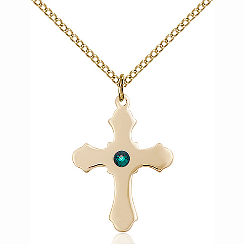 Gold Filled 7/8in Cross Pendant with 3mm Emerald Bead & 18in Chain