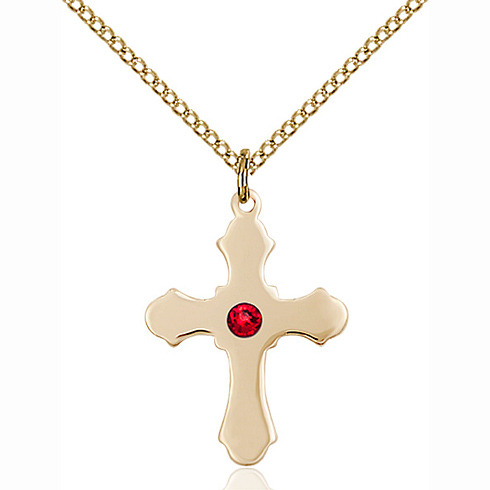 Gold Filled 7/8in Cross Pendant with 3mm Ruby Bead & 18in Chain