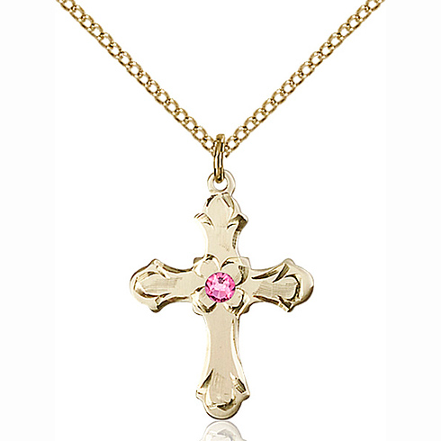 Gold Filled 7/8in Floral Cross Pendant with 3mm Rose Bead & 18in Chain