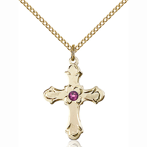 Gold Filled 7/8in Floral Cross Pendant with 3mm Amethyst Bead & 18in Chain