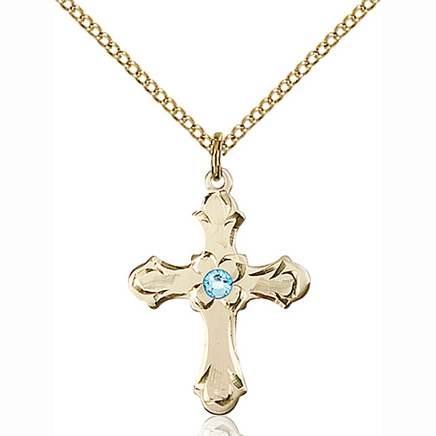 Gold Filled 7/8in Floral Cross Pendant with 3mm Aqua Bead & 18in Chain