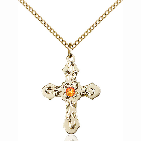 Gold Filled 7/8in Baroque Cross Topaz Bead Pendant & 18in Chain