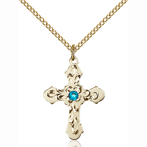 Gold Filled 7/8in Baroque Cross Pendant with 3mm Zircon Bead & 18in Chain