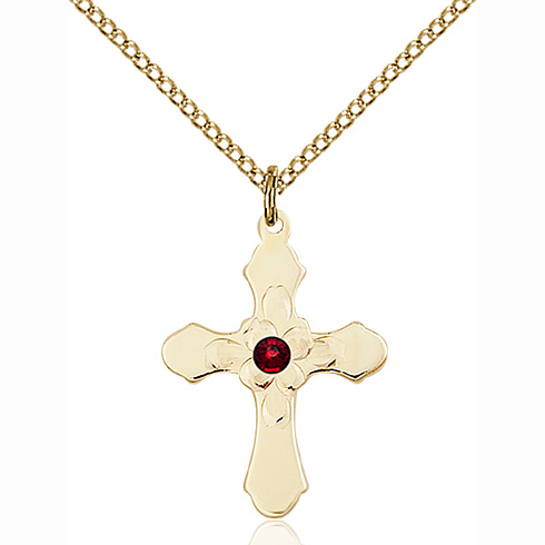 Gold Filled 7/8in Florid Cross Garnet Bead Pendant & 18in Chain