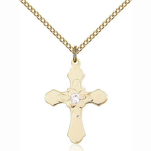 Gold Filled 7/8in Florid Cross Crystal Bead Pendant & 18in Chain