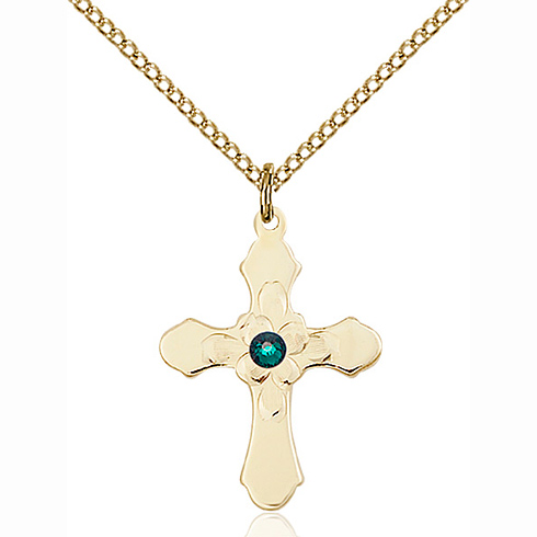 Gold Filled 7/8in Florid Cross Pendant with 3mm Emerald Bead & 18in Chain