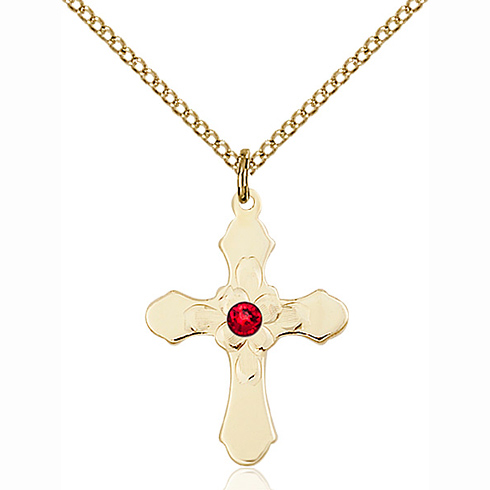 Gold Filled 7/8in Florid Cross Pendant with 3mm Ruby Bead & 18in Chain