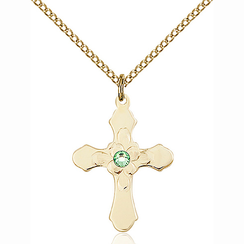 Gold Filled 7/8in Florid Cross Pendant with 3mm Peridot Bead & 18in Chain