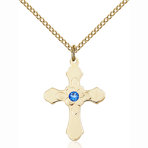 Gold Filled 7/8in Florid Cross Pendant with 3mm Sapphire Bead & 18in Chain
