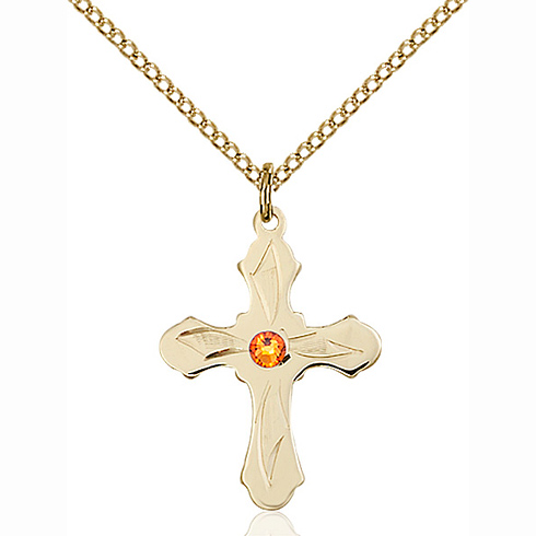 Gold Filled 7/8in Etched Cross Pendant with 3mm Topaz Bead & 18in Chain