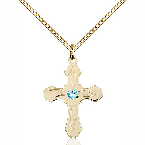 Gold Filled 7/8in Etched Cross Pendant with 3mm Aqua Bead & 18in Chain