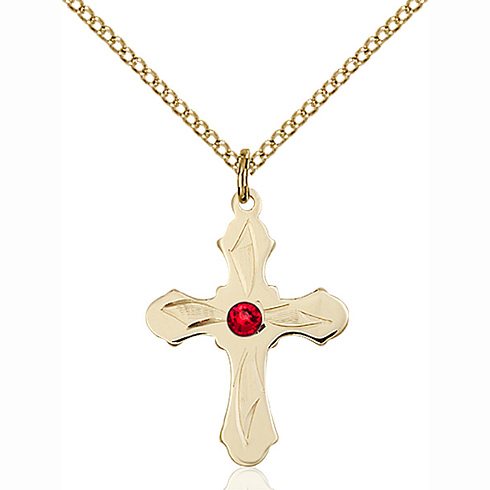 Gold Filled 7/8in Etched Cross Pendant with 3mm Ruby Bead & 18in Chain