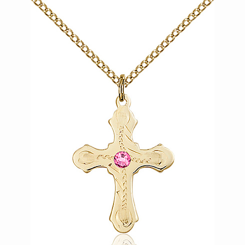Gold Filled 7/8in Beaded Cross Pendant with 3mm Rose Bead & 18in Chain