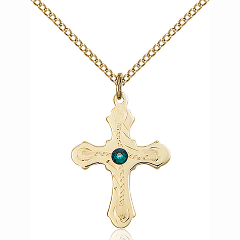 Gold Filled 7/8in Beaded Cross Pendant with 3mm Emerald Bead & 18in Chain