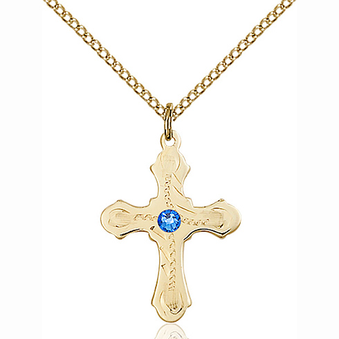 Gold Filled 7/8in Beaded Cross Pendant with 3mm Sapphire Bead & 18in Chain
