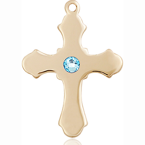 14kt Yellow Gold 7/8in Cross with 3mm Aqua Bead