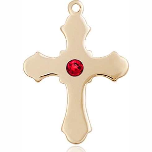 14kt Yellow Gold 7/8in Cross with 3mm Ruby Bead