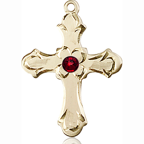 14kt Yellow Gold 7/8in Floral Cross with 3mm Garnet Bead