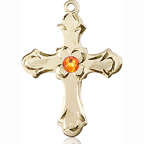 14kt Yellow Gold 7/8in Floral Cross with 3mm Topaz Bead