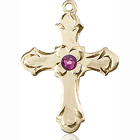 14kt Yellow Gold 7/8in Floral Cross with 3mm Amethyst Bead