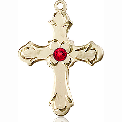 14kt Yellow Gold 7/8in Floral Cross with 3mm Ruby Bead