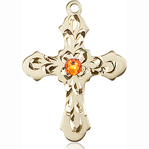 14kt Yellow Gold 7/8in Baroque Cross with 3mm Topaz Bead