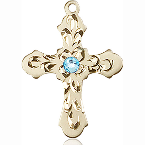 14kt Yellow Gold 7/8in Baroque Cross with 3mm Aqua Bead