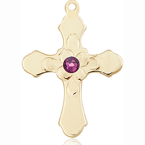 14kt Yellow Gold 7/8in Florid Cross with 3mm Amethyst Bead
