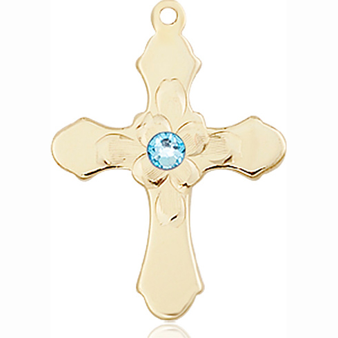 14kt Yellow Gold 7/8in Florid Cross with 3mm Aqua Bead