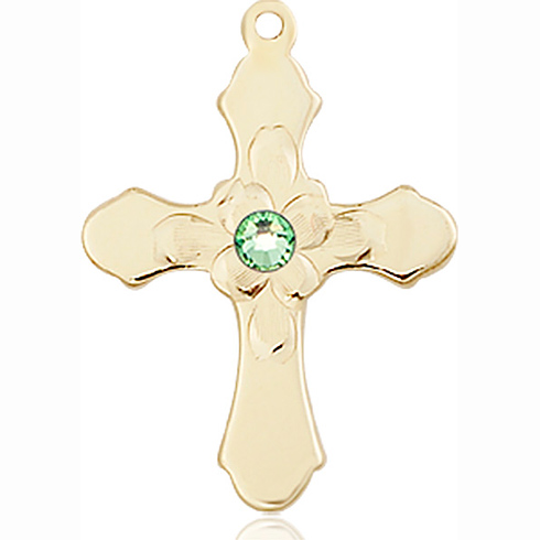14kt Yellow Gold 7/8in Florid Cross with 3mm Peridot Bead