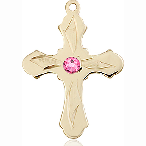 14kt Yellow Gold 7/8in Etched Cross with 3mm Rose Bead