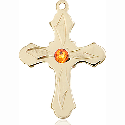 14kt Yellow Gold 7/8in Etched Cross with 3mm Topaz Bead