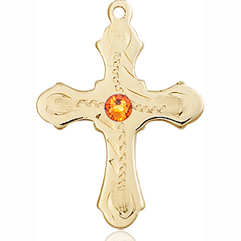 14kt Yellow Gold 7/8in Beaded Cross with 3mm Topaz Bead