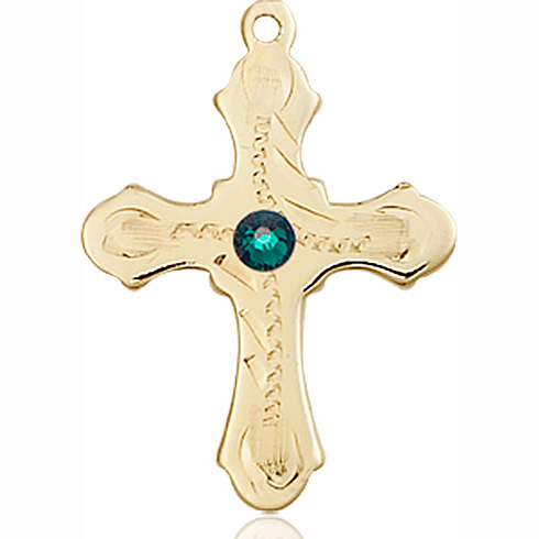 14kt Yellow Gold 7/8in Beaded Cross with 3mm Emerald Bead