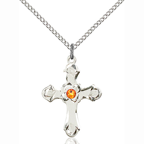 Sterling Silver 7/8in Floral Cross Pendant with 3mm Topaz Bead & 18in Chain