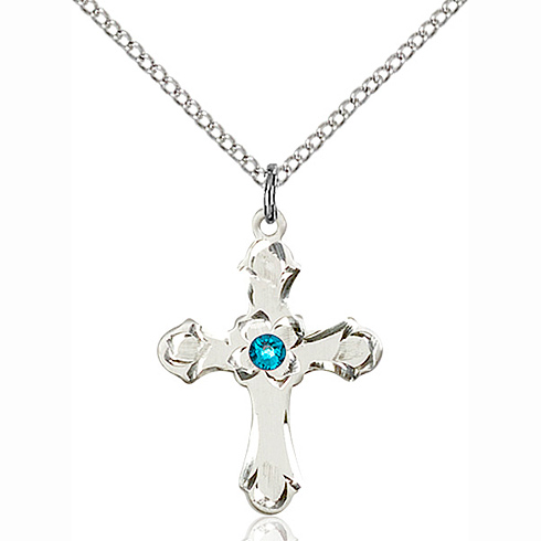 Sterling Silver 7/8in Floral Cross Pendant with 3mm Zircon Bead & 18in Chain