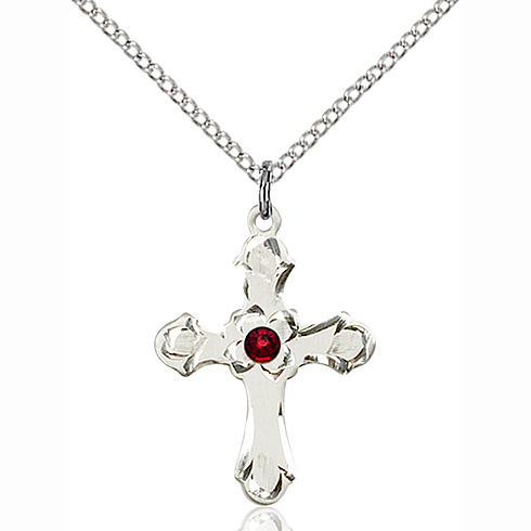 Sterling Silver 7/8in Floral Cross Pendant with 3mm Garnet Bead & 18in Chain