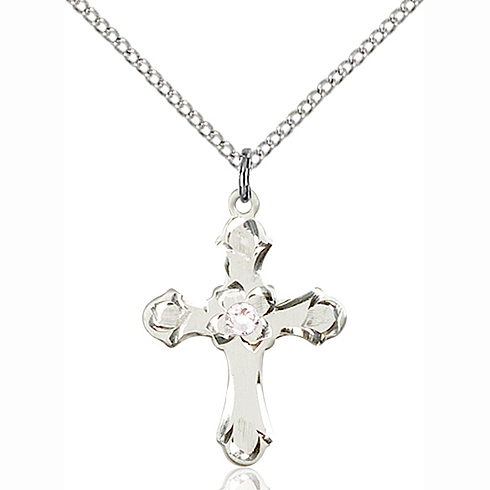 Sterling Silver 7/8in Floral Cross Pendant with 3mm Crystal Bead & 18in Chain