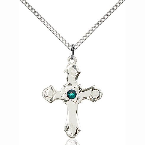 Sterling Silver 7/8in Floral Cross Pendant with 3mm Emerald Bead & 18in Chain