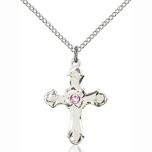 Sterling Silver 7/8in Floral Cross Pendant with 3mm Light Amethyst Bead & 18in Chain