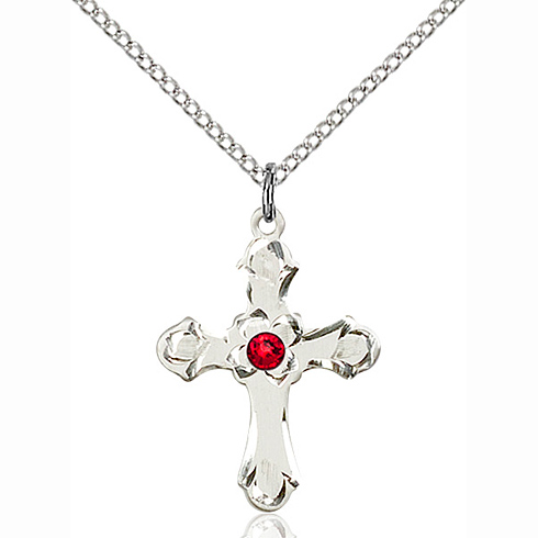 Sterling Silver 7/8in Floral Cross Pendant with 3mm Ruby Bead & 18in Chain