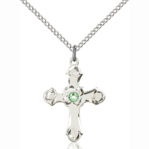 Sterling Silver 7/8in Floral Cross Pendant with 3mm Peridot Bead & 18in Chain