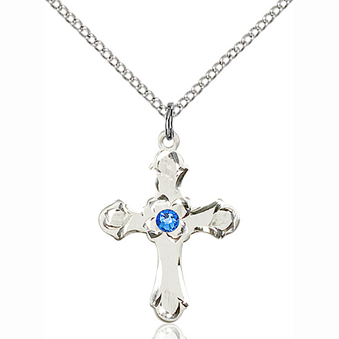 Sterling Silver 7/8in Floral Cross Pendant with 3mm Sapphire Bead & 18in Chain