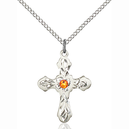 Sterling Silver 7/8in Ornate Cross Pendant with 3mm Topaz Bead & 18in Chain