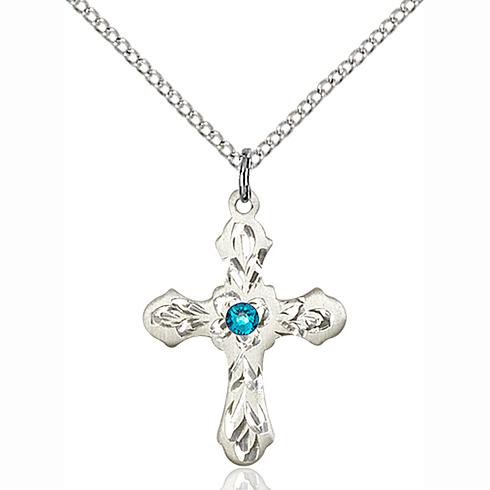 Sterling Silver 7/8in Ornate Zircon Bead Cross Pendant & 18in Chain