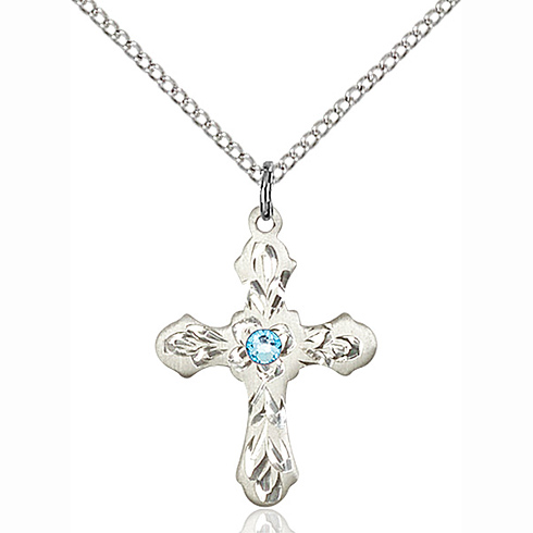 Sterling Silver 7/8in Ornate Cross Pendant with 3mm Aqua Bead & 18in Chain