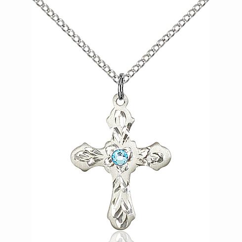 Sterling Silver 7/8in Ornate Aqua Bead Cross Pendant & 18in Chain